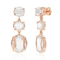 Alexandra Alberta Lexington Rock Crystal Quartz Earrings White Rose Gold