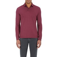 Zanone Jersey Long Sleeve Polo Shirt Wine