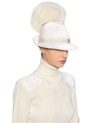Moncler Gamme Rouge Fox Fur Pompom Felted Wool Hat