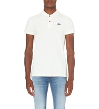 Replay Logo Patch Cotton Pique Polo Shirt Chalk