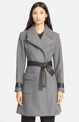 A.L.C. 'Wheeler' Leather Trim Belted Coat Heather Grey