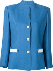 Hermes Vintage Contrasting Pocket Buttoned Jacket Blue