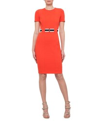 Akris Punto Short Sleeve Belted Sheath Dress Rust