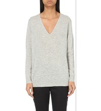 Theory Adrianna V Neck Cashmere Jumper Light Heather