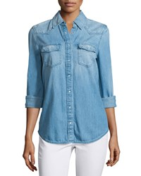 Ag Jeans Sutton Embroidered Chambray Shirt Floral Embroidery