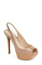 Women's Jessica Simpson Platform Slingback Peep Toe Pump Nude Patent Leather