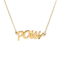 Edge Only Pow Letters Necklace Large In Gold