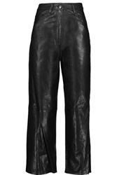Tibi Anesia Cropped Leather Wide Leg Pants Black