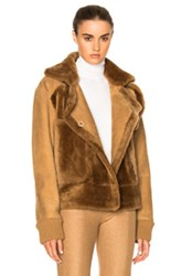 Tibi Sheep Shearling Aviator Jacket In Brown