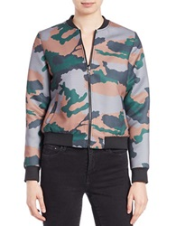 Essentiel Camo Print Bomber Jacket Green Multi