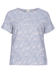 Sugarhill Boutique Floral Jacquard T Shirt Top Blue
