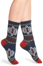 Pendleton Women's 'Tolovana' Merino Wool Blend Crew Socks Navy