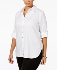 Calvin Klein Plus Size High Low Tunic Shirt Tan Beige
