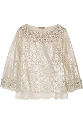 Emilio Pucci Embellished Metallic Cotton Blend Corded Lace Top White