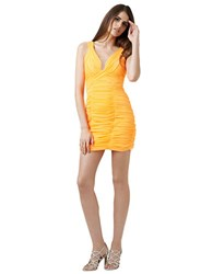 Hailey Logan Shirred Mesh Inset Dress Orange