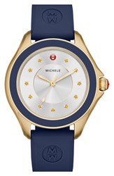 Michele 'Cape' Topaz Dial Silicone Strap Watch 40Mm Navy Gold