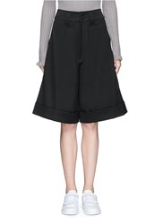 Chictopia Foldup Cuff Wool Oversized Shorts Black