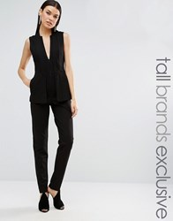 Taller Than Your Average Ttya Black Kiren Sleeveless Two In One Blazer Overlay Tailored Jumpsuit Black