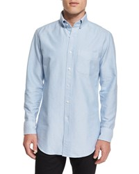 Tom Ford Tailored Fit Washed Oxford Dress Shirt Light Blue
