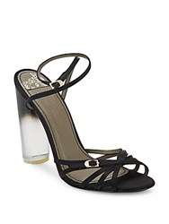 Versace Lucite Heel Strappy Satin Sandals Black