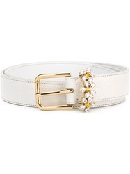Dolce And Gabbana Daisy Crystal Belt White