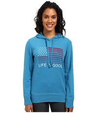 Life Is Good Flag Stripe Go To Pullover Hoodie Denim Blue Women's Sweatshirt