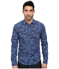 Boss Orange Extreme Slim Fit Long Sleeve Shirt In Camu Flower Print Dark Blue Men's Long Sleeve Pullover