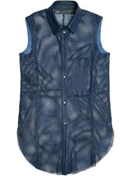 Drome Perforated Leather Shirt Blue