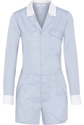 10 Crosby By Derek Lam Two Tone Cotton Playsuit Blue