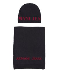 Armani Jeans Blue Scarf And Hat Set With Large Navy Aj Logo