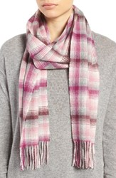Nordstrom Women's Heritage Plaid Cashmere Scarf Purple Combo