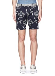 Scotch And Soda Contrast Waist Floral Print Shorts Blue