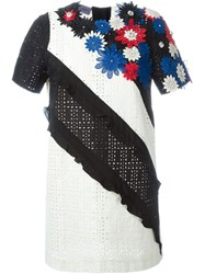 Emanuel Ungaro Flower Appliqua Embroidered Dress Black