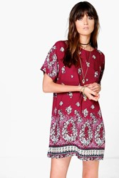 Boohoo Floral Cap Sleeve Shift Dress Red