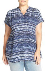 Sejour Plus Size Women's Short Sleeve Georgette Tunic Navy Blue Print
