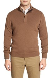 Men's Big And Tall John W. Nordstrom Merino Wool Quarter Zip Pullover Brown Bear