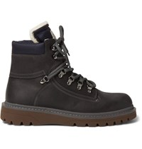 Moncler Egide Shearling Lined Leather Hiking Boots Dark Brown