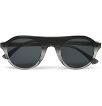 Dries Van Noten Acetate Round Frame Sunglasses Gray