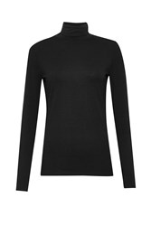Great Plains Primrose Stretch Roll Neck Top Black