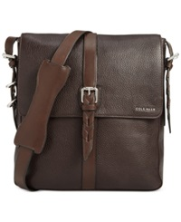 Cole Haan Pebbled Leather North South Messenger Bag Chocolate