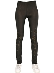 Mes Demoiselles Chakra Embellished Stretch Silk Legging