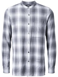 Attachment Band Collar Plaid Shirt Grey