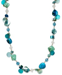 Style And Co. Gold Tone Blue Green Long Shell Rope Necklace