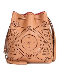Polo Ralph Lauren Perforated Leather Bucket Bag Brown