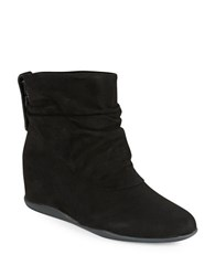 Me Too Suede Wedge Ankle Boots Black