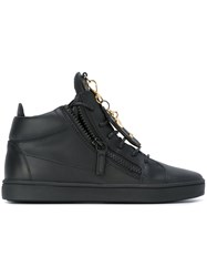 Giuseppe Zanotti Design Mid Top Charm Embellished Sneakers Black