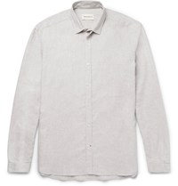 Oliver Spencer Clarkenwell Slim Fit Cotton Flannel Shirt Gray