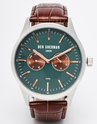 Ben Sherman Leather Strap Watch Brown