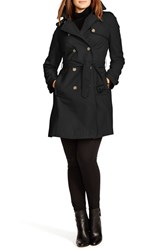 Plus Size Women's Lauren Ralph Lauren Faux Leather Trim Trench Coat