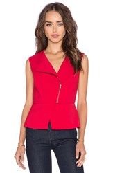Bcbgmaxazria Deisi Zip Up Sleeveless Tank Red